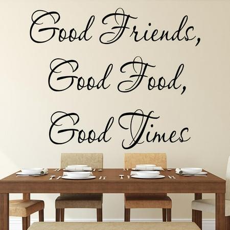 VWAQ Good Friends Good Food Good Times Decal Kitchen Decor Wall Sticker Saying Vinyl