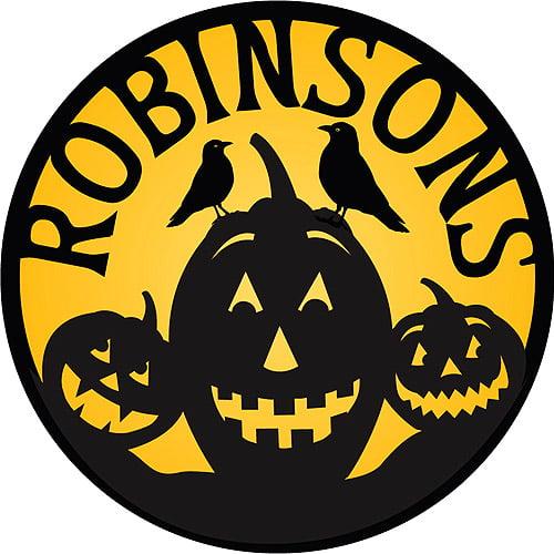 """Personalized Round Halloween Pumpkins Doormat, 25"""""""