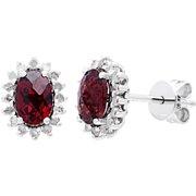 10k White Gold 1/4ct TDW Gemstone Earrings (G-H, I1-I2) Garnet