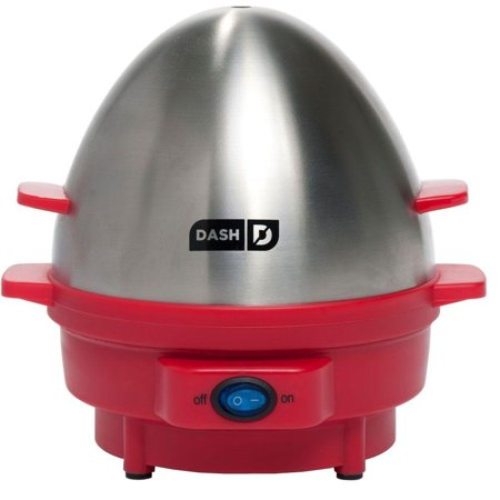 Dash Kitchen 7-Egg Rapid Egg Cooker, Red, Polish Silver