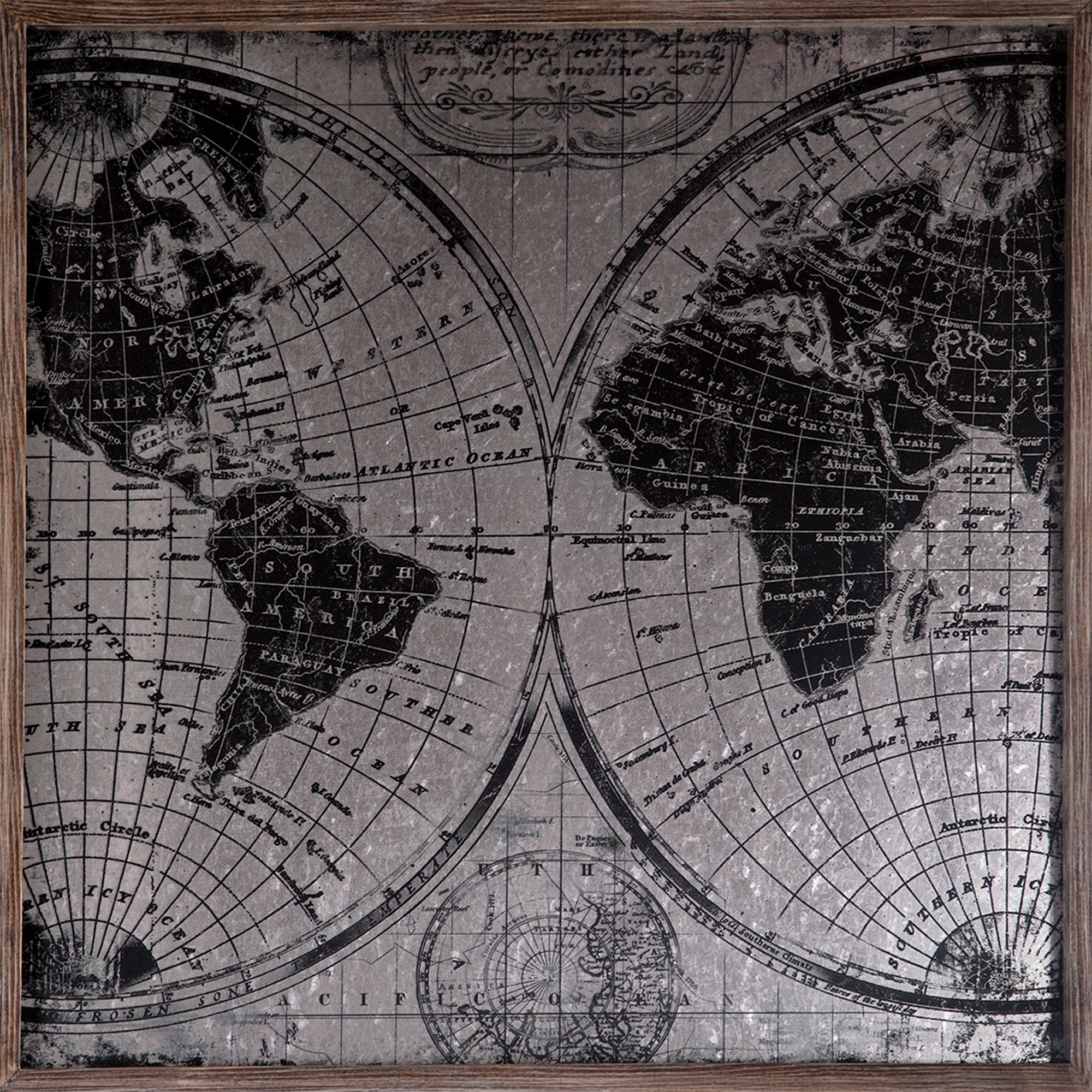 "20"" x 20"" Metal Map Galvanized Wall Art"