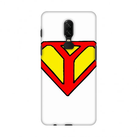 OnePlus 6 Case - Superhero- Y, Hard Plastic Back Cover, Slim Profile Cute Printed Designer Snap on Case with Screen Cleaning Kit