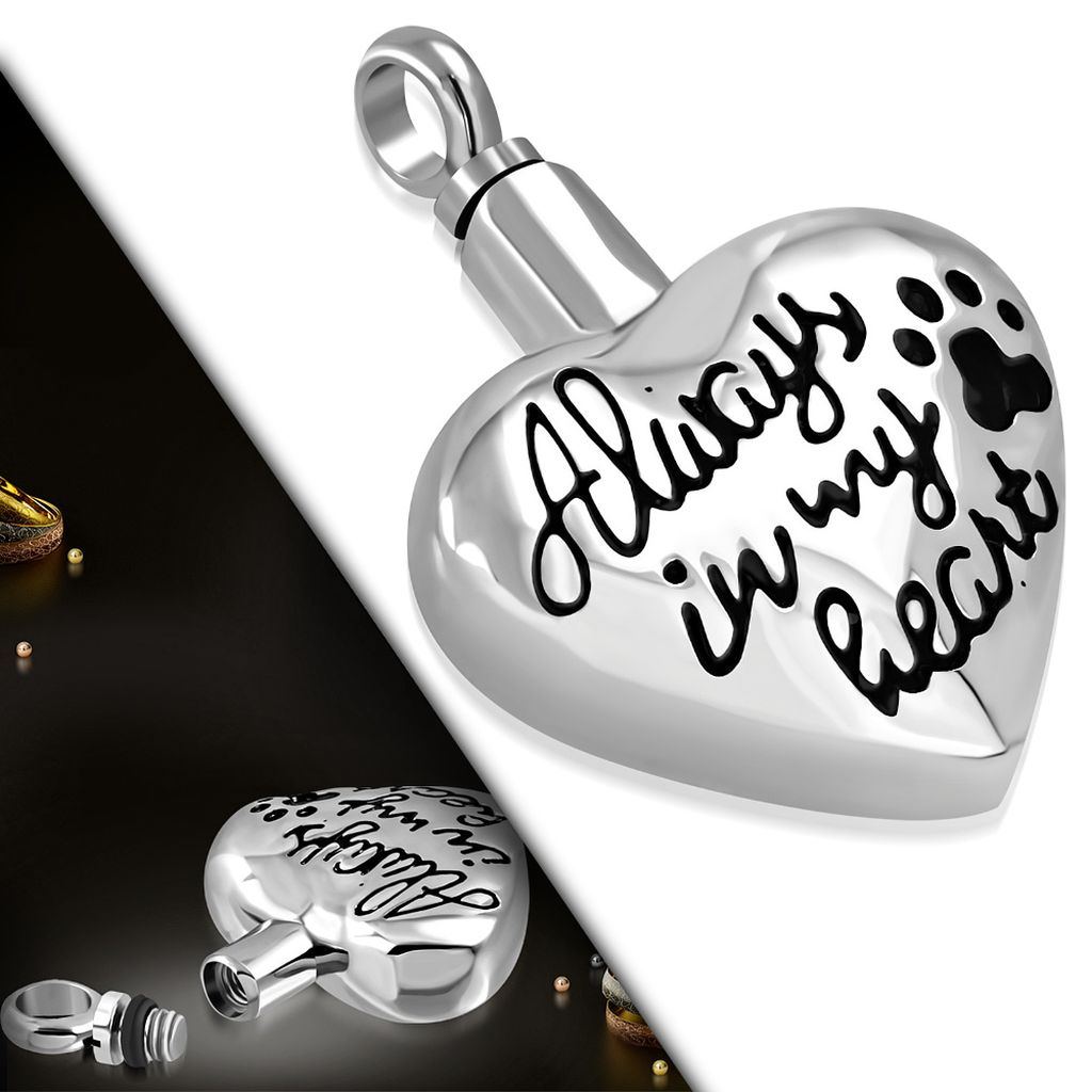 Stainless Steel Always In My Heart Monogram Openable Pet Ash Urn Keepsake Memorial Pendant