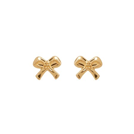 Brilliance Fine Jewelry 10K Yellow Gold Polished Tiny Bow with Safety Back Earrings