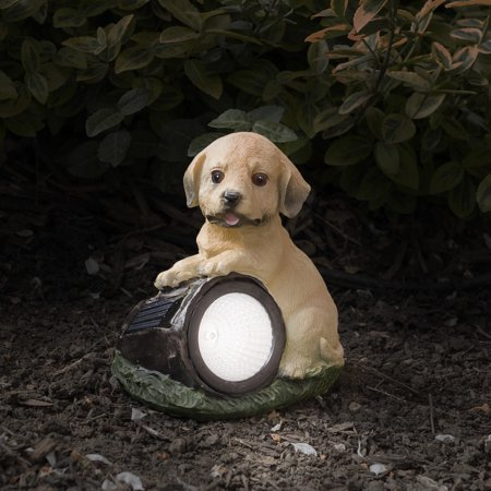 Pure Garden Yard Décor, Solar Outdoor LED Light and Battery Operated Statue for Garden by   Dog Statue