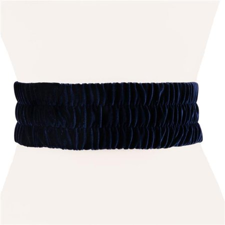 Two 12 Fashion WJ18NVY Womens Designer Velvet Stretch Belt, Navy - Extra Small & Small (Womens Designer Belt)