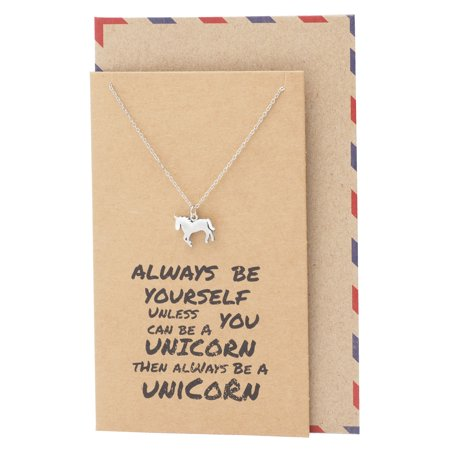 Magical Graduation, Back-to School, Birthday Gifts for Women and Girls, Unicorn Pendant Necklace on Inspirational Thank You Quote Card, 16 to 18 inches ()