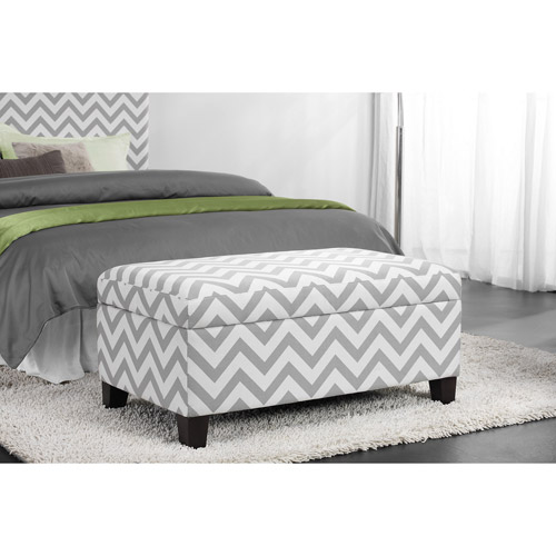 Dorel Home Kinsley Chevron Storage Ottoman, Gray and White by Dorel Asia