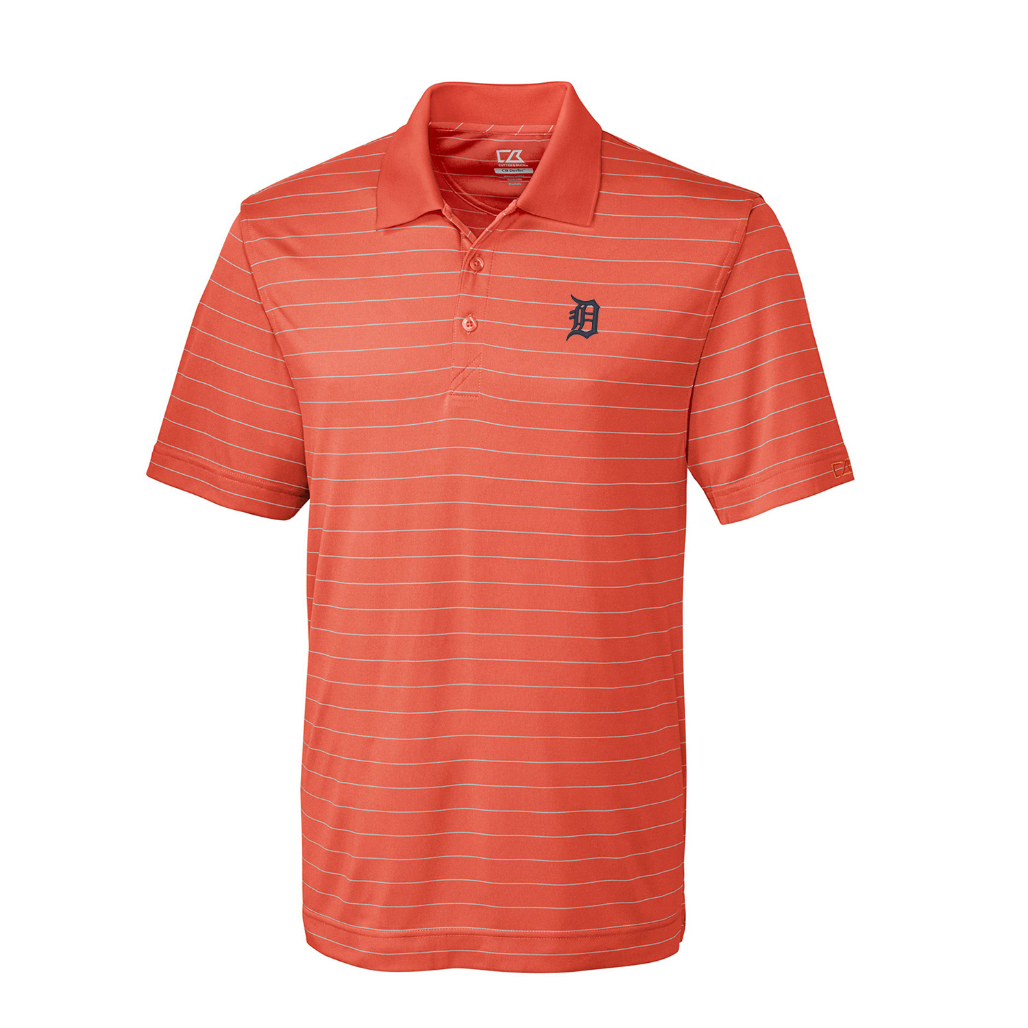 Detroit Tigers Cutter & Buck Franklin Stripe DryTec Polo - Orange/White