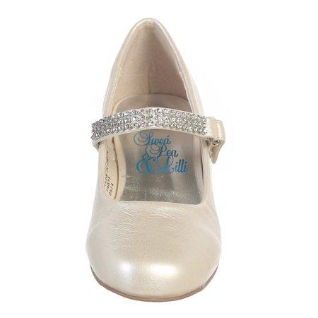 Girls Ivory Rhinestone Strap Mia Occasion Dress Shoes 11-4 Kids - White Dress Ivory Shoes