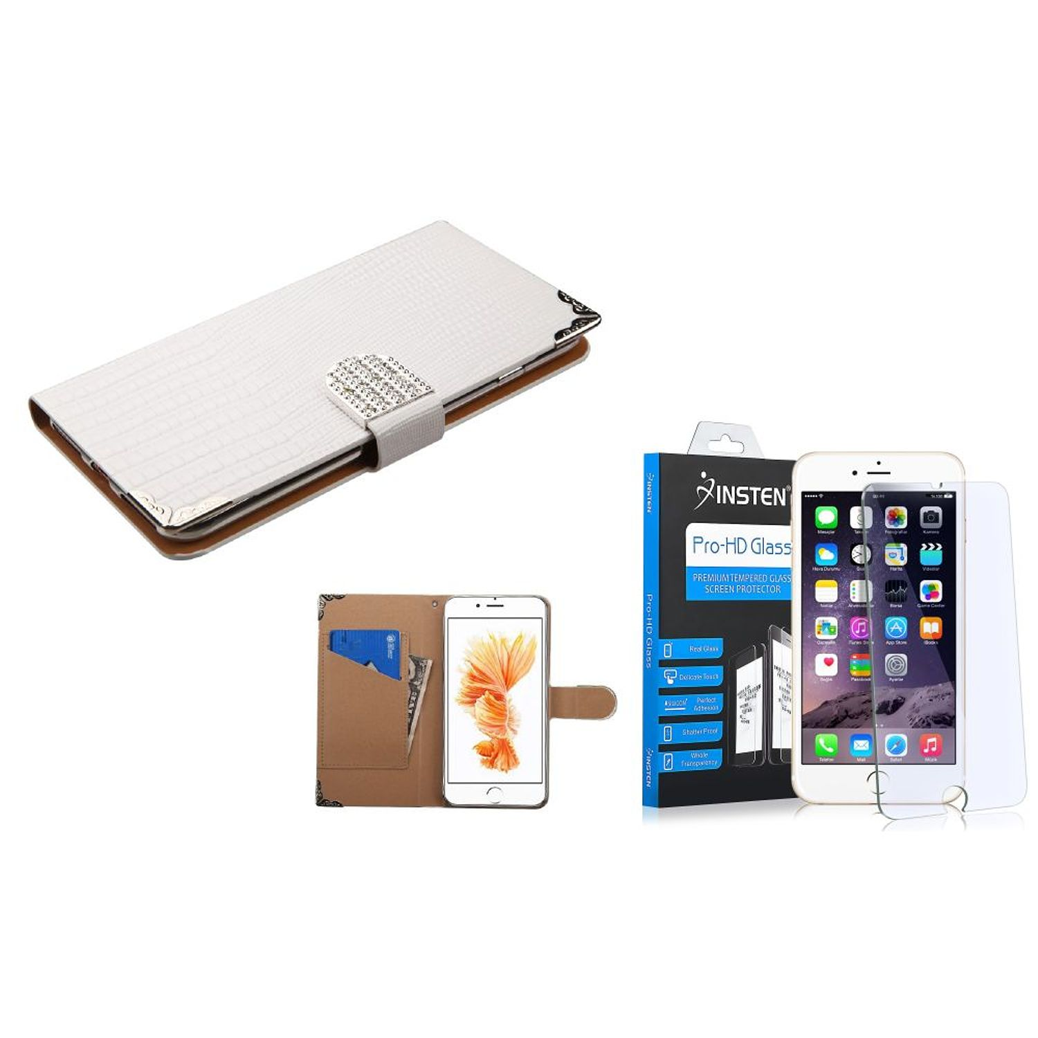 Insten for iPhone 8 Plus / iPhone 7 Plus- Glass Protector + White Crocodile Skin Wallet Leather Case (with Metal Diamonds Buckle)