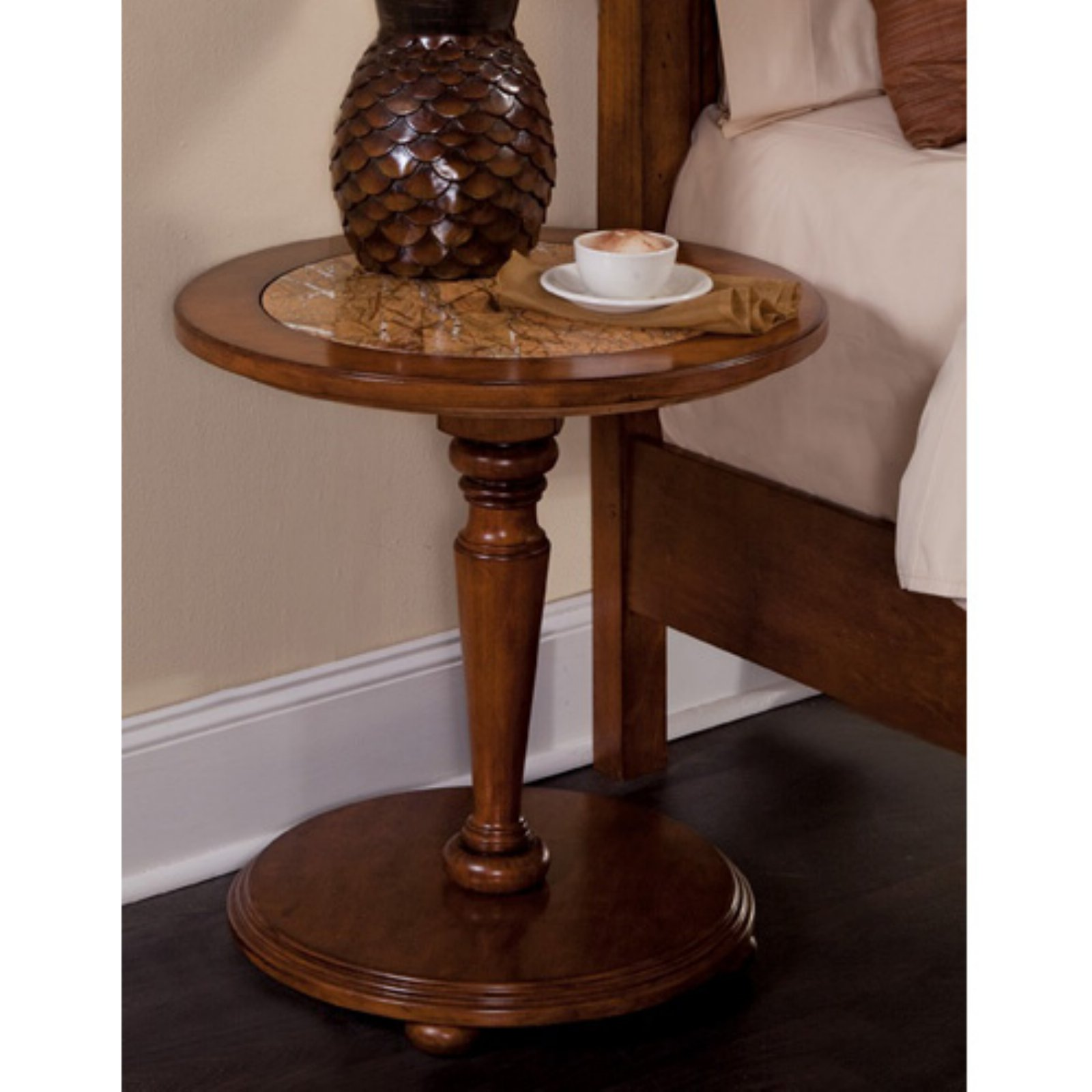 American Woodcrafters Hudson Bay Round Pedestal Nightstand