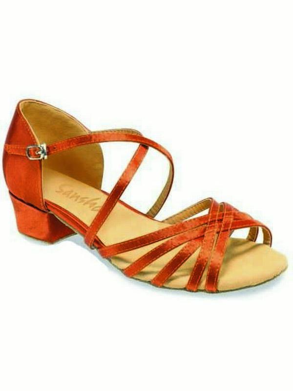 Sansha Dark Shoes Tan Jazmin Ballroom Satin Dance Shoes Dark Girls Toddler 6M-10M 8d2c8a
