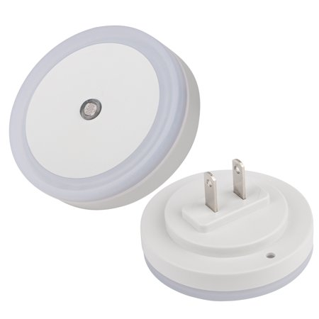 EEEKit LED Wall Night Light 2-Pack, Circular US Plug White Automatic On Off Smart Sensor Wall Dusk Dawn Lamp for Bedroom Bathroom Kitchen Hallway