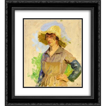 Frederic Bazille 2x Matted 20x24 Black Ornate Framed Art Print 'Grape Picker in a Yellow Hat'