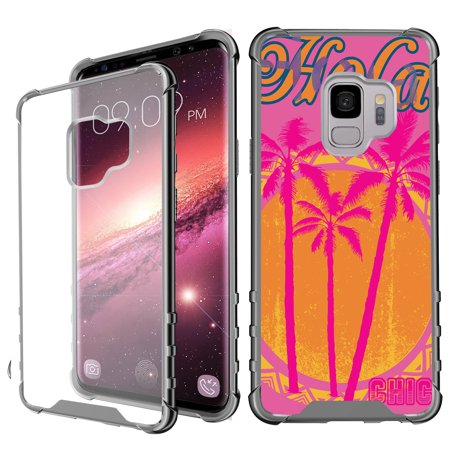 Samsung Galaxy S9 Case, MINITURTLE Crystal Clear TPU Air-Cushion Case with Reinforced Corners, Anti-scratch Hard PC Back Piece for Samsung Galaxy S9 [SLIM ARMOR Series] - Pink Palm Trees