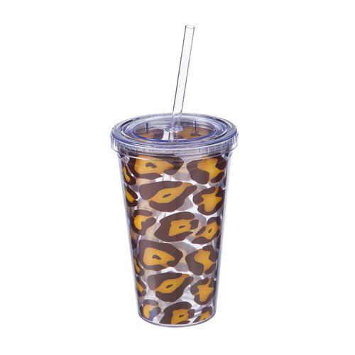 Animal Print 10\u201d Plastic Straw for Tumblers Leopard Cheetah Print Reusable Straw