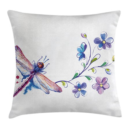 Dragonfly Throw Pillow Cushion Cover, Watercolor Bug Butterfly Like Moth with Branch Ivy Flowers Lilies Art, Decorative Square Accent Pillow Case, 16 X 16 Inches, Green Purple and Blue, by - Lily Accent Light