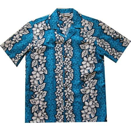 Floral Flowers Leis Panel Hawaiian Shirt Blue (XL)   W59 - Leis Flowers
