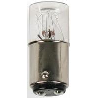 5 Watts Miniature Incandescent Bulb, T3-1/4, Double Contact Bayonet (BA15d), 24