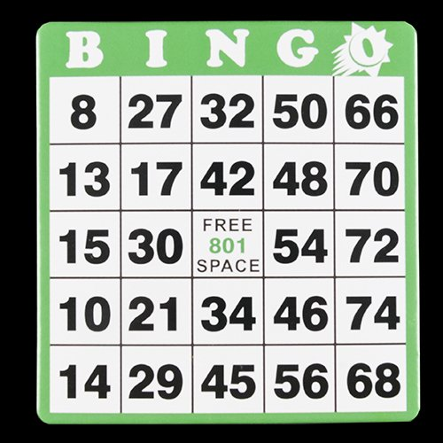 Hard Bingo Cards - Green - 100 per pack