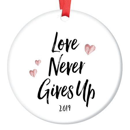 2019 Christmas Ornament Collectible Love Never Gives Up Ceramic Holiday Present Keep Faith Inspire Hope Believe in Reason for The Season Keepsake Gift 3