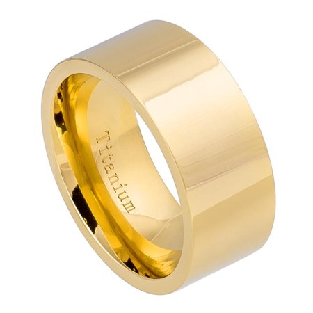 10mm - For Men or Ladies High Polished Yellow Gold IP Titanium Wedding Band Ring
