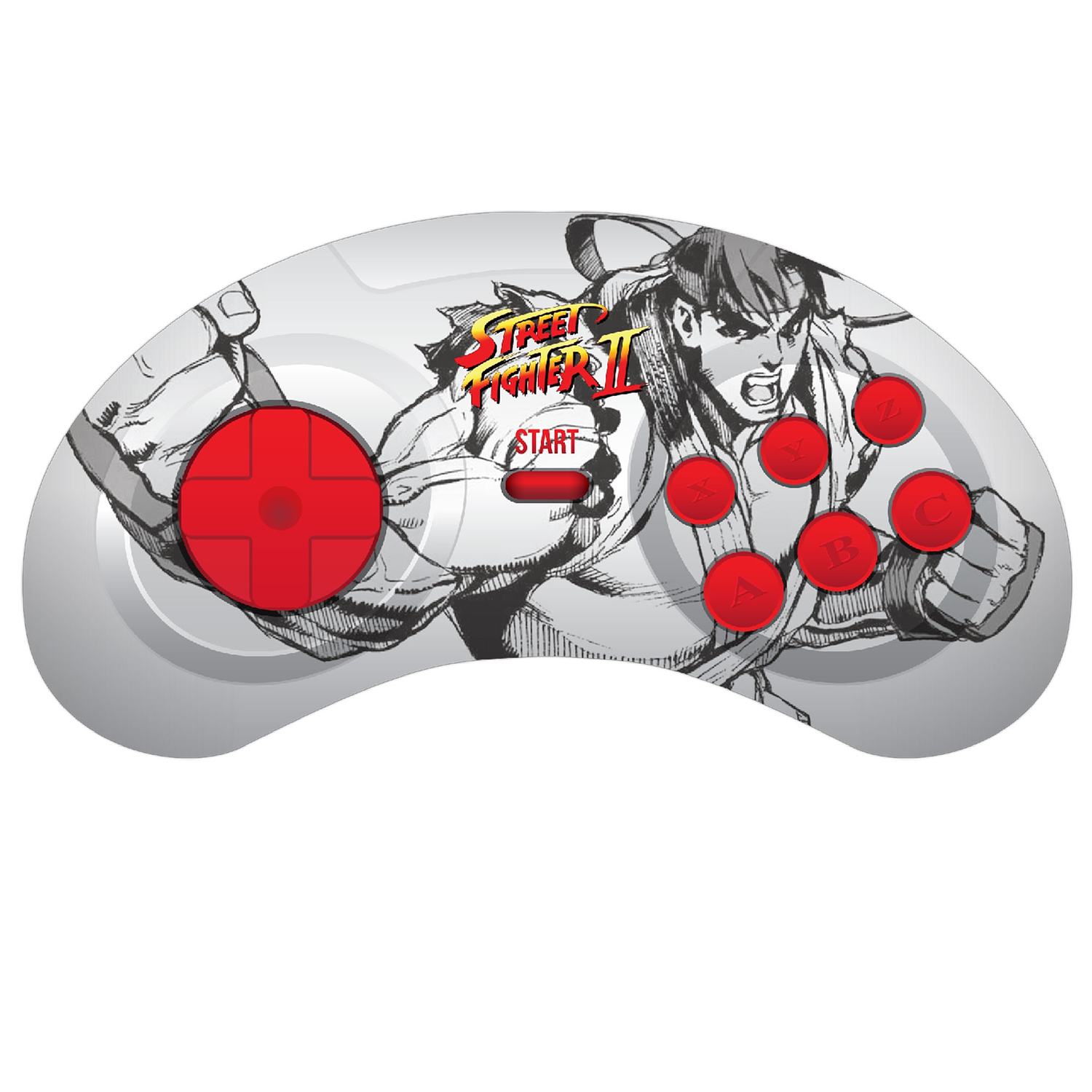 Retro-Bit PC/USB Genesis Style Controller, Street Fighter Ryu Capcom, Gray/Red