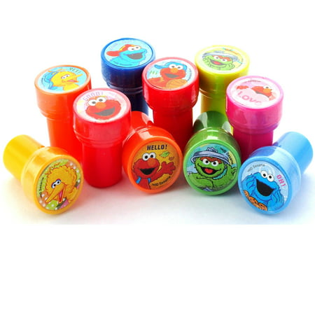Sesame Street Buckets (ELmo Sesame Street and Friends Stampers Party Favors ( 10 Stampers)