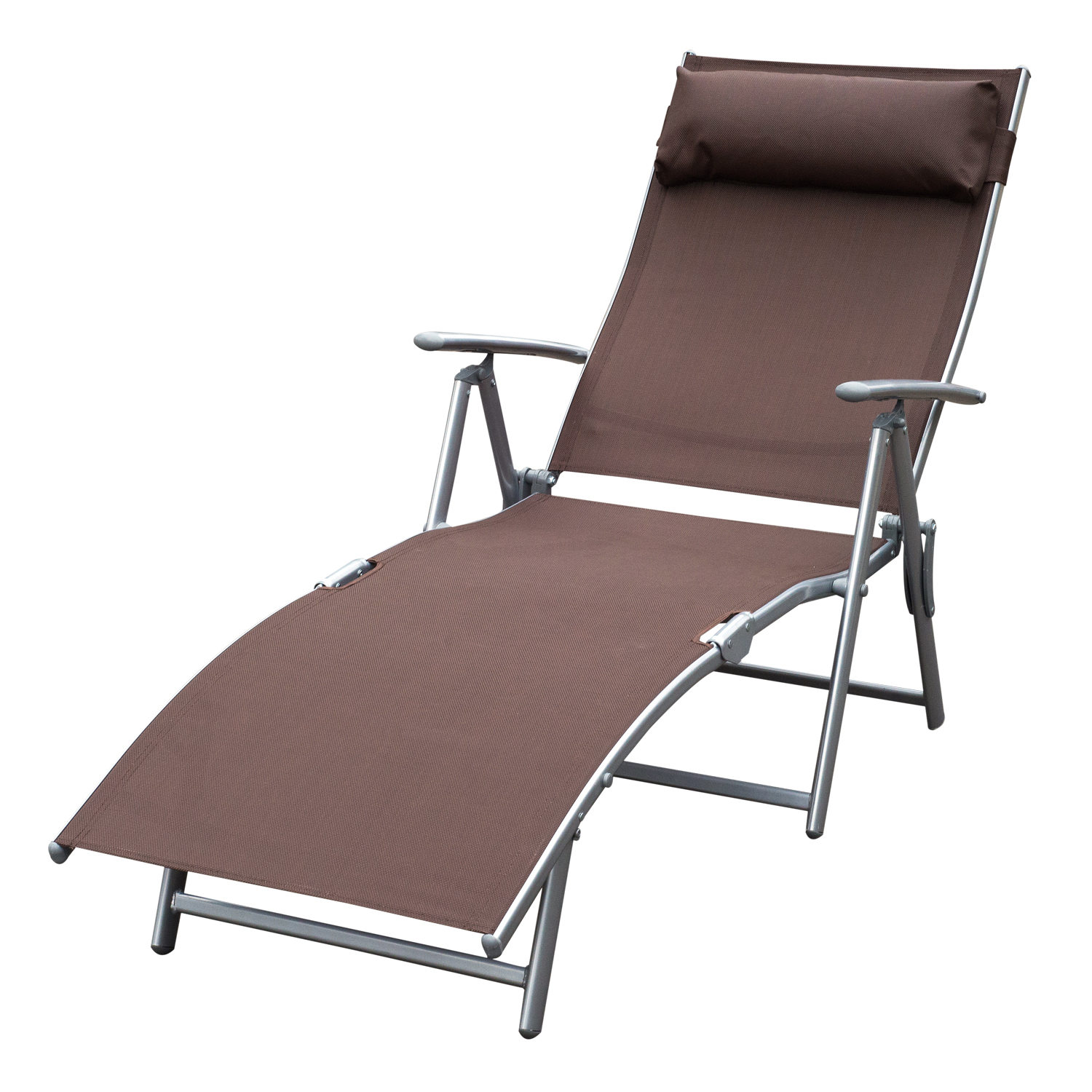 Outsunny Sling Fabric Folding Patio Reclining Outdoor Deck Chaise Lounge  Chair With Cushion   Brown