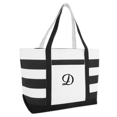Dalix Striped Beach Bag Tote Bags Handbag Personalized Black Ballent Letter D