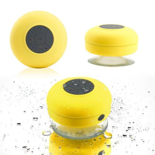 Mini Wireless Portable Shower Car Waterproof Bluetooth Handsfree Mic Speaker with Suction Cup - Yellow