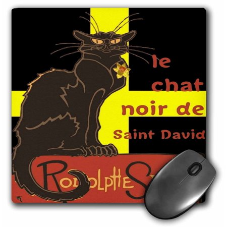 3dRose Le Chat Noir De Saint David De Rodolphe Salis - Mouse Pad, 8 by 8-inch