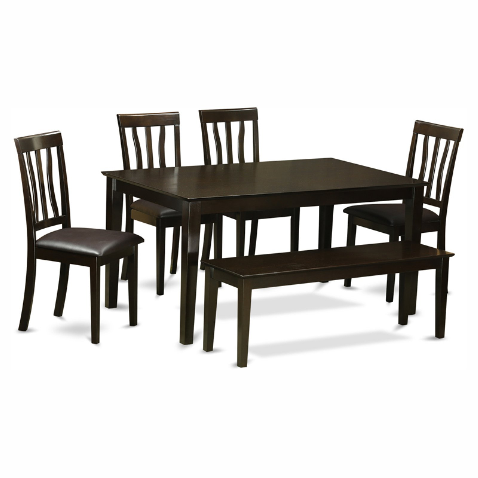 East West Furniture Capris 6 Piece Rectangular Dining Table Set with Antique Faux Leather Seat Chairs