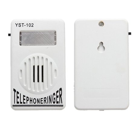 White ON OFF Switch Telephone Ring Sound Amplifier Strobe Light Flasher Extra-Loud Bell Ringer Up To 95dB