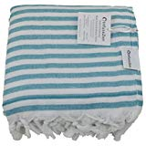 Sea Green and White Striped Turkish Terry Towel for the Bath Pool or Spa Oversized Beach Towel Oversized Pesht