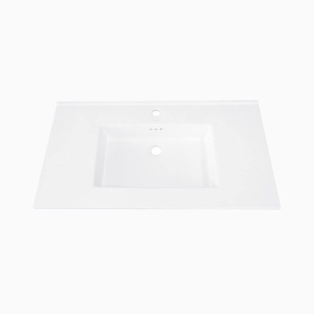 32 W X 20 D Marbella Ceramic Single Vanity Top With Integrated Sink And 8 Widespread Faucet Hole White Walmart Com Walmart Com