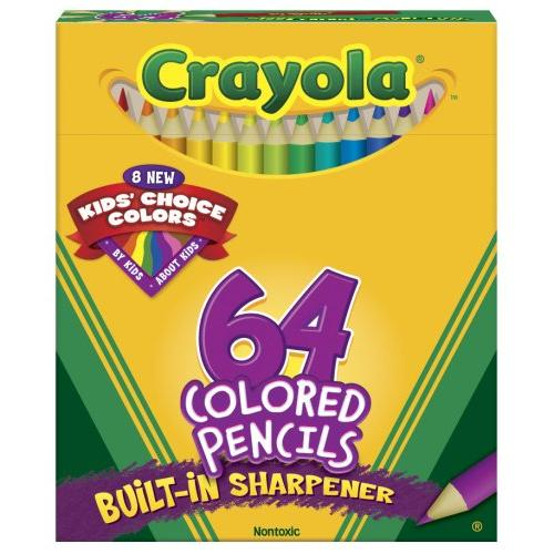 "Crayola Colored Pencils 64 Count Kid's Choice Colors with Built in Sharpener - Short 3"" Barrel (683364)"