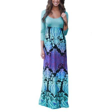 Flattering Floral Dress - Fashion Floral Print High Waist 3/4 Sleeve Long Maxi Dresses for Women