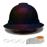 Full Brim Pyramex Hard Hat, Rainbow Carbon Fiber Design Safety Helmet 4pt + 3pk Beige Hard Hat Sweatband + 3 Pairs Safety Glasses, by AcerPal