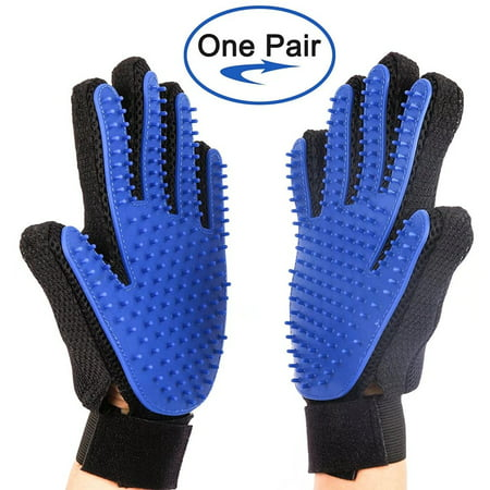 Pet Grooming Gloves Hair Removal Mitt Pet Deshedding Brush Massage Tool For Dogs Cats  One Pair