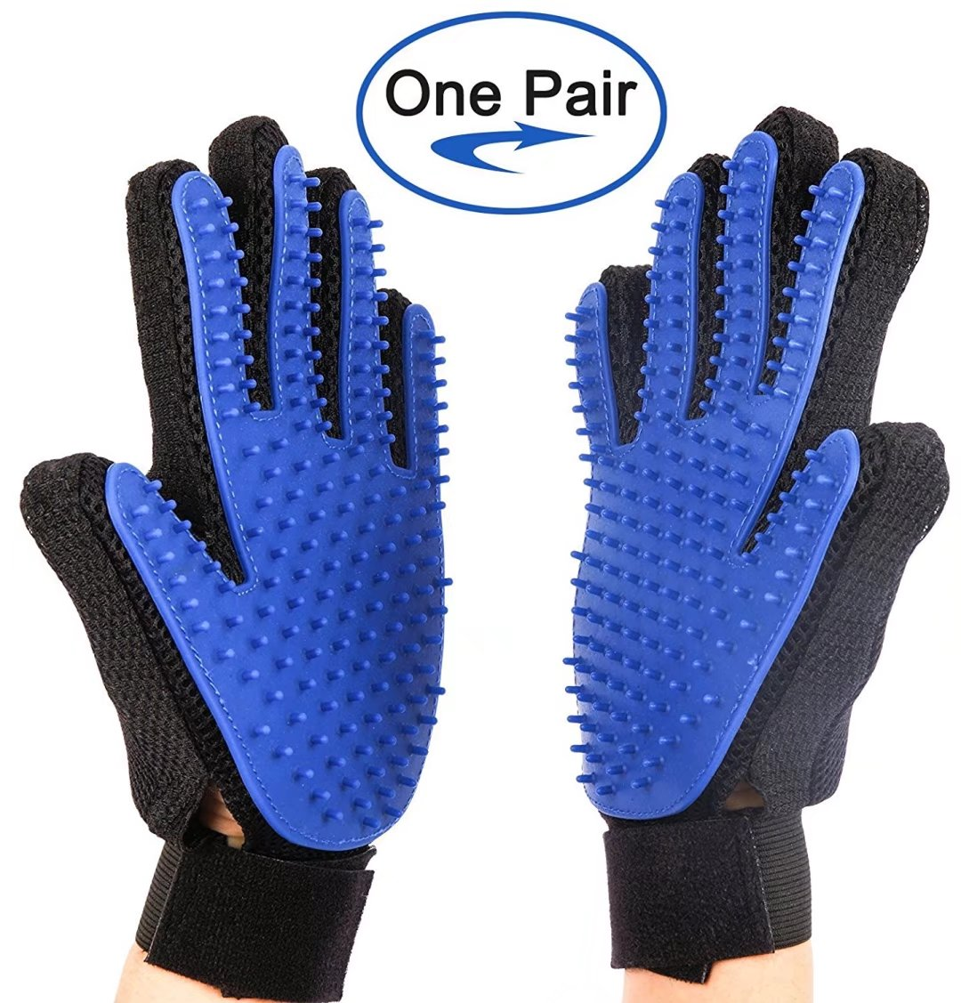 Pet Grooming Gloves Hair Removal Mitt Pet Deshedding Brush Massage Tool for Dogs Cats (One Pair)