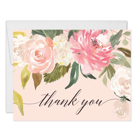 Pastel Pink Peonies Thank You Cards with Envelopes ( Pack of 25 ) Blank Folded Thank You Notecards Baby Bridal Shower Gift Birthday Engagement Wedding Thank You Gracias Notes Excellent Value VT0039B