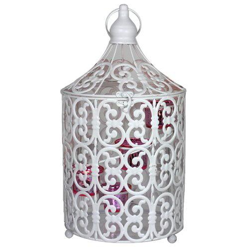 Snowy Metal Bird Caged Lantern,White/Pink