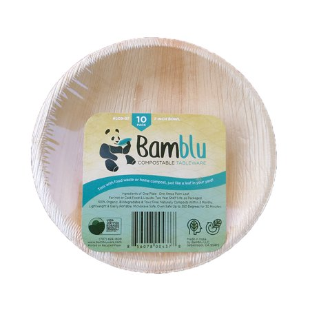 100 PC, Bamblu Home Compostable Designer Tableware, 7 inch Round Palm Leaf Bowl, LCB-07-CS