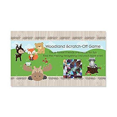 woodland creatures - baby shower or birthday party game scratch off cards - 22 count (Baby Shower Scratch Off)