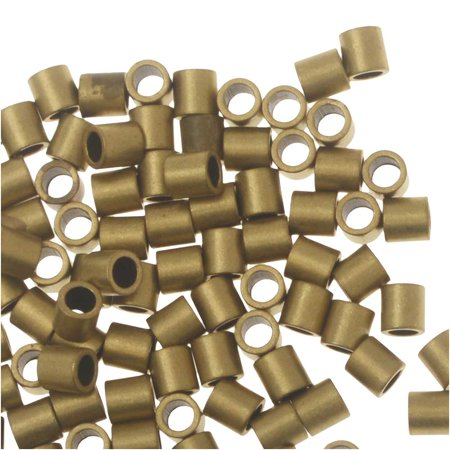 Antique Brass Crimp Bead - Crimp Beads, Tube 2x2mm, 100 Pieces, Raw Brass