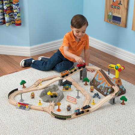 KidKraft Bucket Top Construction Train Set with 61 accessories