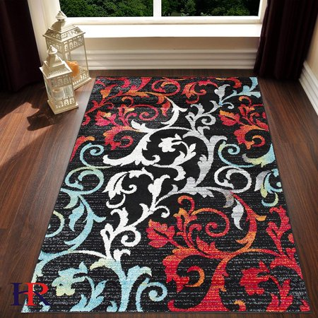 turquoise ivory orange red black faded allover floral distressed area rug swirls area rug. Black Bedroom Furniture Sets. Home Design Ideas