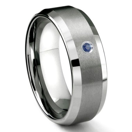 Titanium Kay Tungsten Carbide 8MM Satin Finish Beveled Sapphire Solitaire Comfort Fit Mens Wedding Band Ring Sz 10.0 Comfort Fit Solitaire Setting